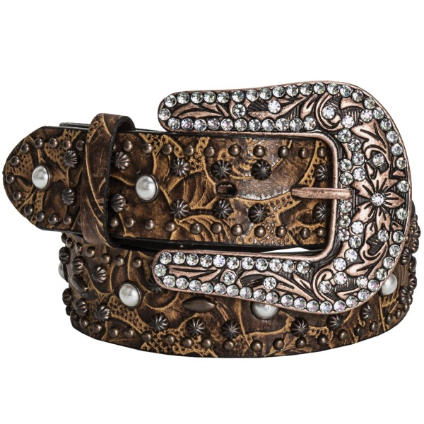 CLOSEOUTS . Pearlized and coppery studs adorn the rugged, floral-embossed leather of Roperand#39;s floral studded belt, offering a beautifully vintage appeal with a dazzling, blinged-out copper buckle. Available Colors: COGNAC. Sizes: S, M, L, XL, 2XL.