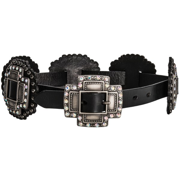 CLOSEOUTS . Itand#39;s all about the conchos in Roperand#39;s slide belt, featuring a skinny leather strap sporting triple-layer, rhinestone-encrusted pewter conchos on a studded leather backdrop. Available Colors: BLACK. Sizes: S, M, L, 2XL, XL.