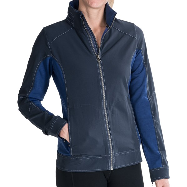 windproof protection of Kuhland#39;s Dfynce jacket. Woolforce stretch side panels offer freedom of movement and gusseted zip cuffs and stylish convenience. Available Colors: ECLIPSE, RAVEN. Sizes: XS, S, M, L, XL.