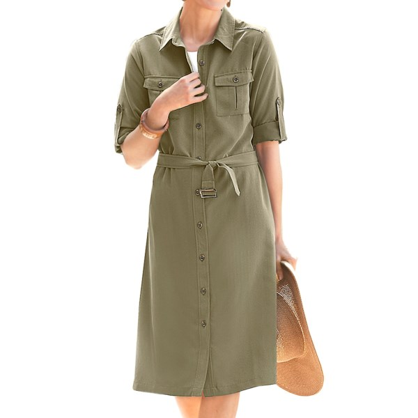 TravelSmith Microfiber Shirt Dress - 3/4 Sleeve (For Plus Size Women)