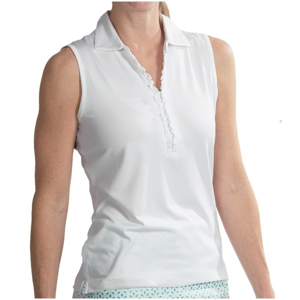 EP Pro Ruffled Neck Polo Shirt - Sleeveless (For Women)