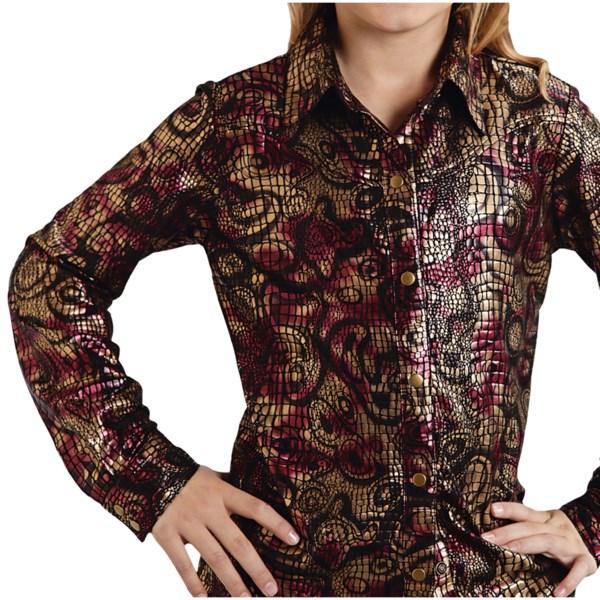 Roper Five Star Metallic Reptile Shirt - Long Sleeve (for Girls)