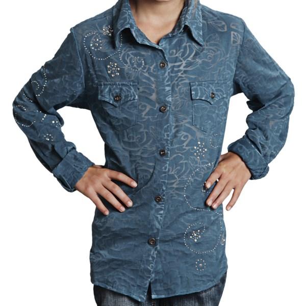 Roper Floral Burnout Shirt - Snap Front  Long Sleeve (for Girls)