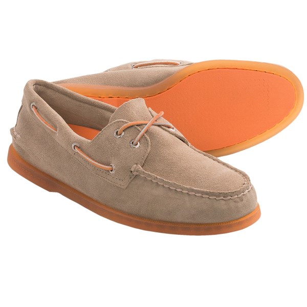 CLOSEOUTS . The iconic boat shoe, Sperry Top-Sider Authentic Original 2-eye boat shoe brings timeless style to your summer wardrobe, with Tru-Moc construction and Sperryand#39;s famous razor-siped outsole. Available Colors: ICE SUEDE SAND/ORANGE, WHITE WASH/GREEN/YELLOW/BLUE. Sizes: 7, 7.5, 8, 8.5, 9, 9.5, 10, 10.5, 11, 11.5, 12, 13.
