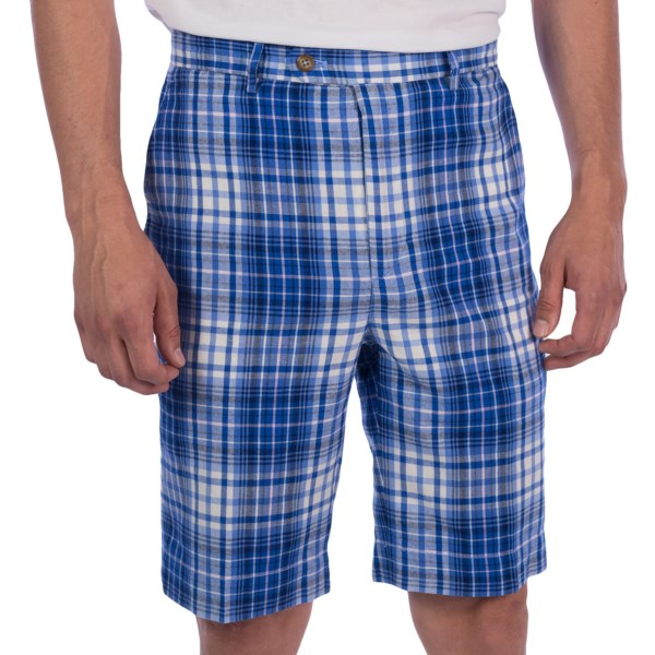 Fairway and Greene Madras Plaid Shorts - Flat Front, Cotton (For Men)