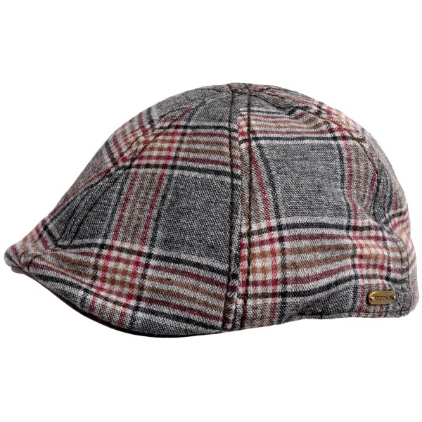 CLOSEOUTS . What youand#39;ll notice first and foremost about this classy driving cap is the choice materials -- from the virgin wool crown to the sueded underbill to the softly corded sweatband and lining. Everything about Stetsonand#39;s Ivy Plaid Raton Duckbill cap is first rate. Available Colors: BLACK, BROWN. Sizes: M, L, XL.