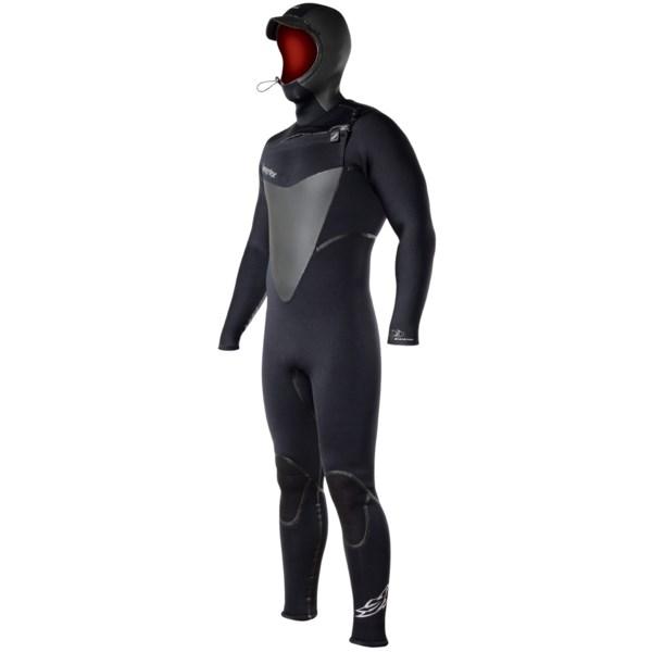 Hyperflex Skull Hooded Front Zip Full Wetsuit - 5/4/3mm (For Men)