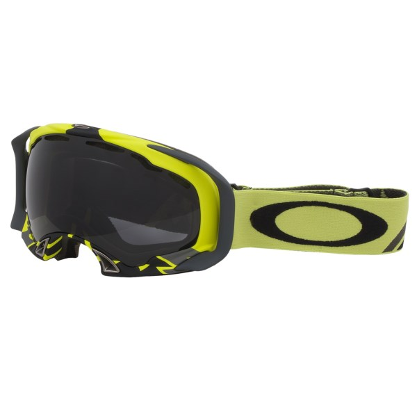 CLOSEOUTS . With stellar peripheral vision, an interchangeable lens design and the protection of a Plutoniteand#174; lens, Oakleyand#39;s Splice snowsport goggles crave long runs in deep powder. Available Colors: TAGLINE TARP BLUE/DARK GREY, DARK GUNMETAL/DARK GREY, FLIGHT SERIES LIME/DARK GREY, JET BLACK/PERSIMMON, SPLICE POLISHED WHITE/DARK GREY.