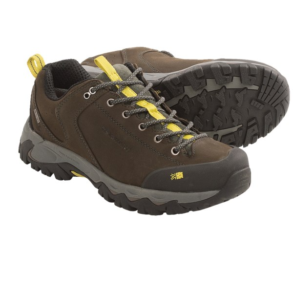 CLOSEOUTS . Karrimor Notus Weathertite trail shoes are a waterproof breathable day hiker with a nubuck upper that finds the perfect balance between flexibility and support. Available Colors: BLACK/SEA, GUNSMOKE. Sizes: 7.5, 8, 8.5, 9, 9.5, 10, 10.5, 11, 11.5, 12, 6, 6.5, 7, 12.5, 13.