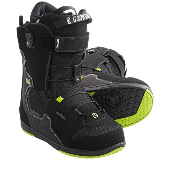 CLOSEOUTS . A freestyle best-seller with balanced flex, Deeluxe ID PF snowboard boots feature three-zone Section Control lacing, a low-profile D-Lug outsole and toe cap. Available Colors: BLACK, REVERSE, GREY. Sizes: 26.5, 27, 27.5, 28, 28.5, 29, 29.5, 30.