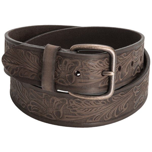 CLOSEOUTS . An intricate floral and leaf design is embossed into the supple calfskin leather of this Reward Embossed Leaf calfskin belt, complemented by the antiqued brass buckle. Available Colors: BROWN.