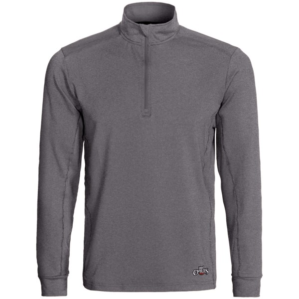 Hot Chillys Micro-Elite Chamois Panel Base Layer Zip Turtleneck - UPF 30 , Midweight, Long Sleeve (For Men)