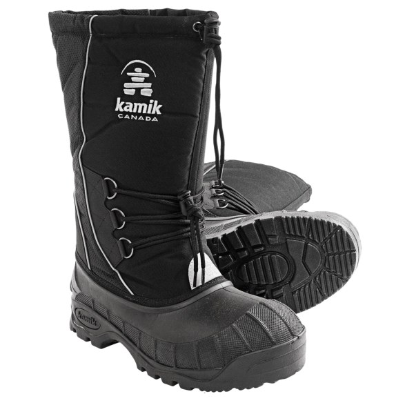 CLOSEOUTS . Stomp through snow and splash through slush with the warmth of Kamikand#39;s Supreme winter pac boots, featuring a 20mm insulated Zylexand#174; liner and a waterproof rubber shell. Available Colors: BLACK. Sizes: 7, 8, 9, 10, 11, 12, 13, 14, 15.