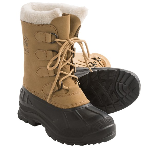 CLOSEOUTS . Your search for the perfect cold-weather boot is over when you get Kamikand#39;s Quest winter pac boots on your feet and into the cold. Waterproof construction and a removable Zylexand#174; liner provide warmth and protection in the most extreme conditions. Available Colors: TAN. Sizes: 5, 6, 7, 8, 9, 10, 11, 12.