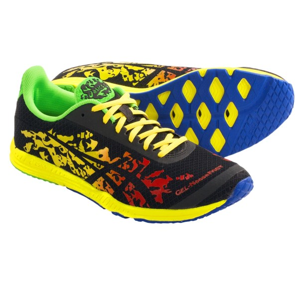 CLOSEOUTS . Designed for triathletes seeking race-day performance and quick transitions, Asics GEL-NoosaFast running shoes combine no-sew construction and a featherweight DuraSponge(R) outsole. Available Colors: FLAME/BLACK/YELLOW. Sizes: 7, 7.5, 8, 8.5, 9, 9.5, 10, 10.5, 11, 11.5, 12, 12.5, 13, 14, 15.