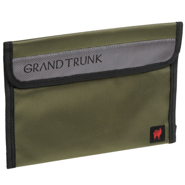 CLOSEOUTS . Grand Trunkand#39;s Travel Field Pouch is a durable and convenient way to carry cord chargers or other important items while traveling. Slide this large-sized pouch into the front pocket of your suitcase for easy access. Available Colors: NEEDS COLOR, OLIVE.
