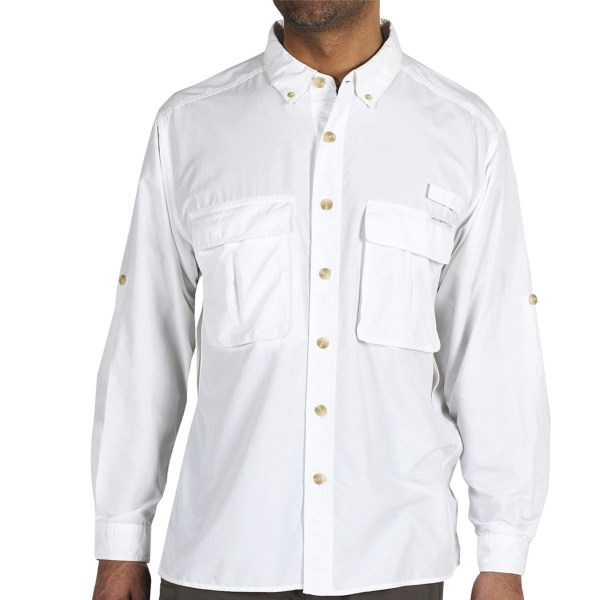CLOSEOUTS . Cut your travel wardrobe in half with ExOfficioand#39;s Air Strip Lite shirt. This lightweight, wrinkle-resisting top features strategic, but discreet ventilating panels and roll-up sleeves to keep you cool. Available Colors: WHITE, BONE. Sizes: M, L, XL, 2XL.