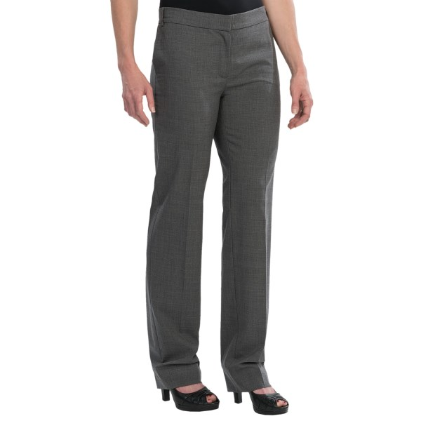 CLOSEOUTS . Sporty elegance is the hallmark of the Escada brand and these stretch wool pants live up to the claim in a superfine wool spun with spandex for give and fit. Available Colors: GREY, BLACK. Sizes: 36, 38, 40, 42, 44.