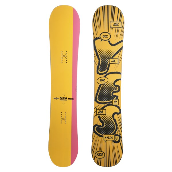 CLOSEOUTS . With its skate-influenced, true cambered twin design, the YES. Tadashi Fuse Pro-Model snowboard is a ton of fun to ride in the park, and it features a Poplar and Beech core that serves up some pop. Available Colors: 147 GRAPHIC, 155 GRAPHIC, 157 GRAPHIC, 154W GRAPHIC, 157W GRAPHIC.