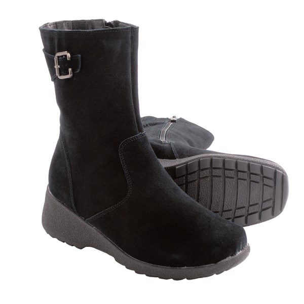 CLOSEOUTS . A cozy winter go-to, Aquatherm by Santana Canada Val boots feature smooth suede accented by a side buckle and faux-mink lining. Available Colors: BLACK. Sizes: 6, 6.5, 7, 7.5, 8, 8.5, 9, 9.5, 10, 11.