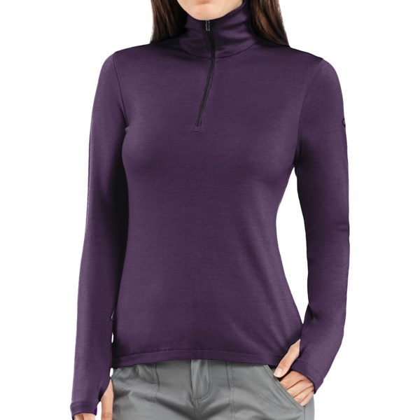 Icebreaker Bodyfit 260 Tech Base Layer Zip Neck Top - UPF 30 , Merino Wool, Midweight, Long Sleeve (For Women)