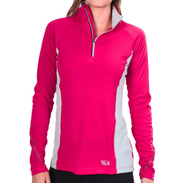 CLOSEOUTS . With ventilating mesh panels and moisture-wicking, lightweight fabric, Mountain Hardwearand#39;s Alisto pullover shirt provides cooling comfort on fast-paced runs and hikes. Available Colors: DARK PLUM/BLACK, GEYSER/EARL GREY, BRIGHT ROSE/EARL GREY. Sizes: XS, S, M, L, XL.