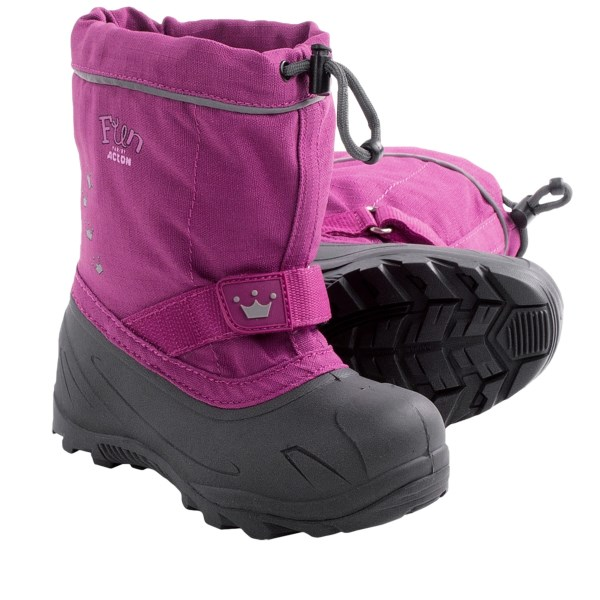 CLOSEOUTS . With Actonand#39;s Sid winter boots ready by the door, your kiddos wonand#39;t even know what cabin fever is. With a comfort rating of -40and#176;F, a lightweight, waterproof rubber foot and an insulating felt liner, these winter boots will have your kids playing in warmth and comfort all season long. Available Colors: DARK GREY/GREY, GREY/MAGENTA. Sizes: 4, 5, 6, 7, 8, 9, 10.