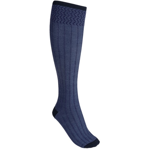 CLOSEOUTS . Goodhewand#39;s Rib Melange socks offer both high-performance comfort and fashionable style with a naturally antimicrobial, temperature-regulating merino wool-rayon blend that features a pronounced melange rib-knit with over-the-calf height and chevron-patterned cuff. Available Colors: PORT, DENIM, BLACK, ESPRESSO, NAVY. Sizes: S/M, M/L.