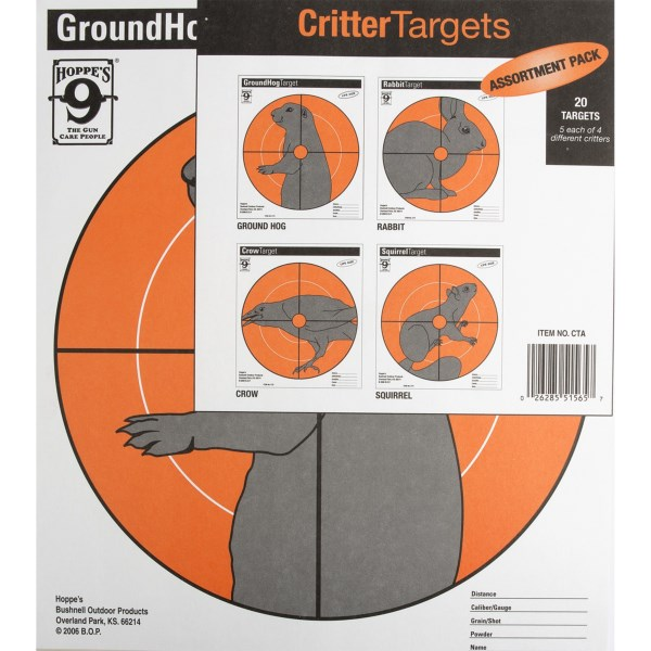 CLOSEOUTS . Improve your shot with a little help from Hoppeand#39;s Critter target assortment. The 20-pack includes five each of ground hog, rabbit, crow and squirrel targets. Available Colors: SEE PHOTO.