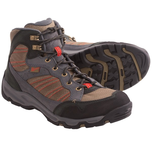 CLOSEOUTS . Flexible and well-cushioned, Danner Sobo Mid hiking boots comfortably handle moderate loads and technical terrain, thanks to a co-molded TPU plate and nylon shank for protection and support. Available Colors: CHARCOAL/OLIVE. Sizes: 7, 8, 8.5, 9, 9.5, 10, 10.5, 11, 11.5, 12, 13, 14, 7.5.