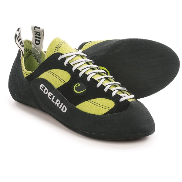 CLOSEOUTS . Developed for trad and sport climbers who prefer longer routes, Edelridand#39;s Reptile II climbing shoes incorporate a straight cut and slightly asymmetrical last for a combination of comfort and outstanding grip. Because of their shape, these also make good entry-level shoes for beginners. Available Colors: OASIS. Sizes: 7.5, 8, 8.5, 9, 9.5, 10, 10.5, 11, 11.5, 12, 13, 14.