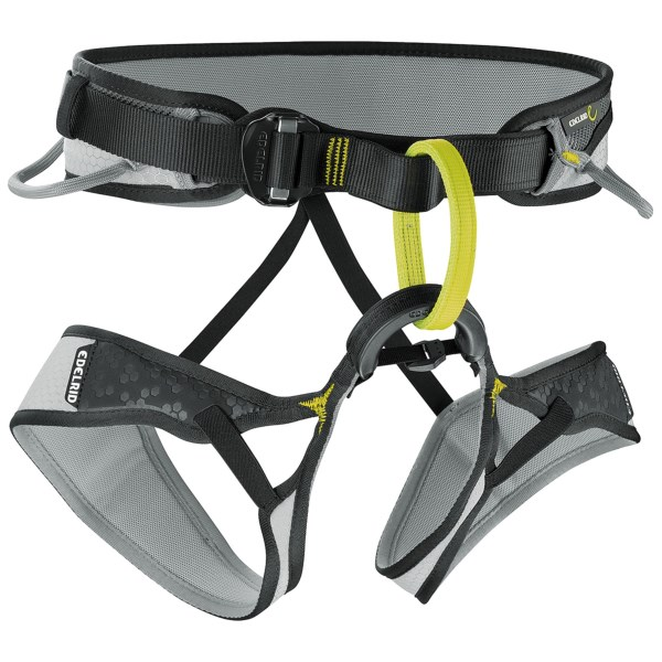 CLOSEOUTS . Comfortably engineered with an ergonomic shape, moveable waist padding and fixed leg loops, Edelridand#39;s Moe climbing harness is an ideal choice for recreational sport and trad climbing. Available Colors: SLATE/VIOLET, SLATE/PEBBLES. Sizes: XS, S, M, L.