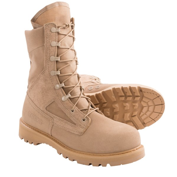 CLOSEOUTS . Rockyand#39;s Desert work boots feature a highly abrasion-resistant upper and a steel safety toe for adventures and workdays in rough terrain. These made in the USA boots are built for the serious connoisseur of all things tactical. Available Colors: TAN. Sizes: 6, 6.5, 7, 7.5, 8, 8.5, 9, 9.5, 10, 10.5, 11, 12, 13.