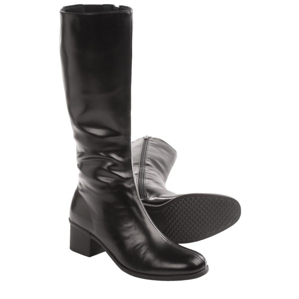 CLOSEOUTS . Sometimes all you need is a classic knee-high boot to freshen up your look. Aquatherm by Santana Canada Francesca tall boots have a clean, shiny, synthetic leather upper with a single center seam that adds just the perfect amount of detail. Available Colors: BLACK. Sizes: 6, 7, 8, 9, 10.