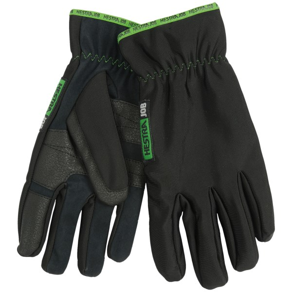 CLOSEOUTS . The unlined Hestra JOB Frost gloves are perfect for light construction tasks and yard work. The reinforced polyurethane palm provides extra durability where you need it most. Available Colors: BLACK/GREEN. Sizes: 7, 8, 9, 10, 11.