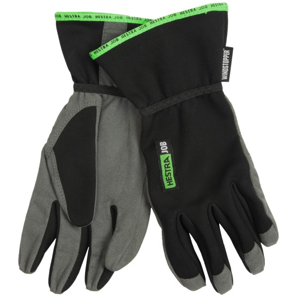 CLOSEOUTS . Get any job done no matter the weather in Hestraand#39;s JOB Windstopperand#174; Action gloves. The rugged, unlined construction features a windproof, water-resistant Windstopperand#174; membrane and Chamudeand#174; palm for optimized dexterity. Available Colors: BLACK/GREY. Sizes: 8, 9, 10, 11.