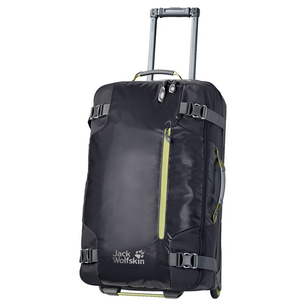 CLOSEOUTS . A practical and stylish option for longer trips, Jack Wolfskinand#39;s Railman 80 upright suitcase has a water-repellent shell with robust wheels and a telescopic handle to make it a jetsetterand#39;s dream. Available Colors: DARK STEEL.