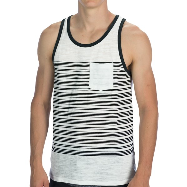 CLOSEOUTS . Some well-placed stripes add a modern dimension to the soft, lightweight fabric of Threads 4 Thought Placement Stripe single pocket tank top, and create the perfect backdrop for the solid-color patch chest pocket. Available Colors: INDIAN TEAL/WHITE, WHITE/RAVEN. Sizes: S, M, L, XL, 2XL.
