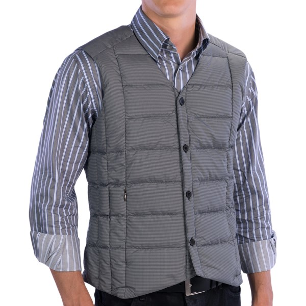 CLOSEOUTS . Timeless vintage style meets modern weather protection in NAUand#39;s BYOB down vest, featuring a classic button-down silhouette thatand#39;s quilted of ultralight, water-repellent polyester and insulated with warm 800 fill power down. Available Colors: THERMAL PLAID, ORBIT PLAID. Sizes: XS, S, M, L, XL.