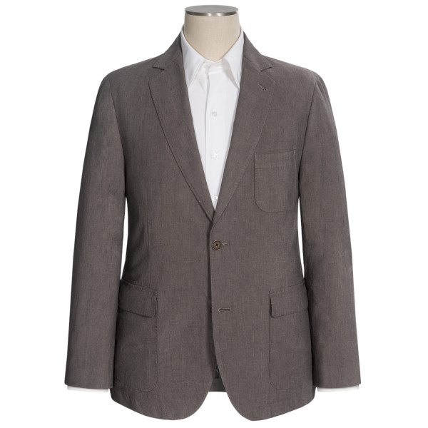 CLOSEOUTS . Flyntand#39;s Bond-W sport coat is fantastically unfussy. Crisp in stretch cotton and lightweight with its three-quarter lining, itand#39;s laid back from the get-go and looks positively dashing with your nicer denim. Available Colors: MEDIUM BROWN.