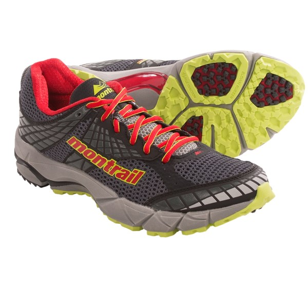 CLOSEOUTS . A smooth hybrid for pavement, dirt roads and smooth paths, Montrailand#39;s Fluidfeel trail running shoes feature a snug midfoot and are the ultimate all-terrain trainer. Available Colors: COAL/SAIL RED. Sizes: 7, 10, 11.5, 12, 12.5, 13, 14, 15.