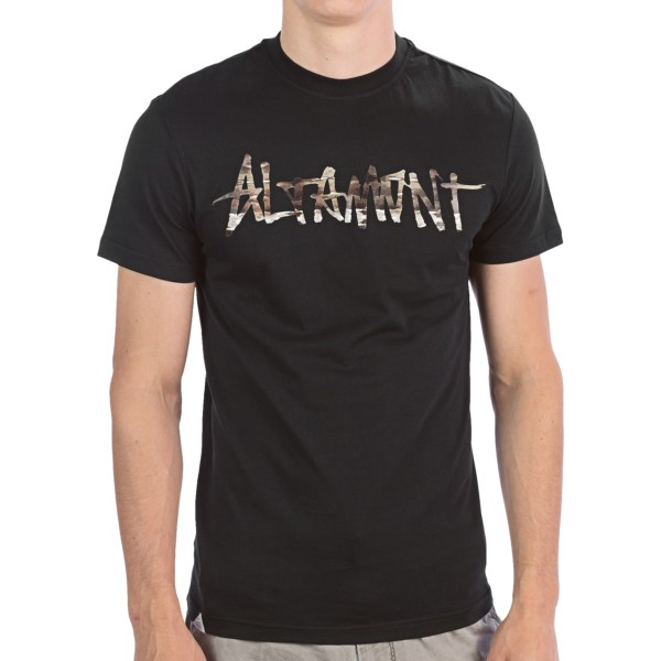 CLOSEOUTS . Altamontand#39;s Paint by Camo Logo T-shirt has a grafitti-inspired script filled with urban camouflage. In soft, lightweight cotton. Available Colors: WHITE, BLACK/CAMO. Sizes: S, M, L, XL.