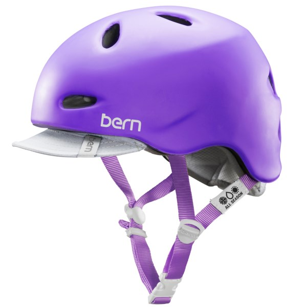 CLOSEOUTS . Bernand#39;s Berkeley bike helmet is ready for two-wheeled adventures, with 11 cooling vents, ultralight Zip Moldand#174; construction and a removable summer liner with sun visor. Available Colors: GLOSS BLACK, MATTE GREY, GLOSS WHITE/PURPLE BOMBER, GLOSS WHITE, MATTE PURPLE, SATIN BLACK, SATIN WHITE. Sizes: L, M, XS, S.