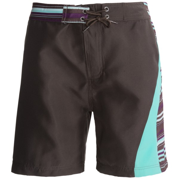 CLOSEOUTS . Your little girl will love her new Level Six Zoe surf shorts. Quick-drying fabric, comfortable back elastic inset and a bright color scheme will give her the freedom to hang in the water or play in the sand. Available Colors: BLACK/VIOLET NAVAJO, CORAL/RAZZBERRY, SEA FOAM/WHITE, AQUA SKY, CERISE, GANACHE. Sizes: 12, 14, 16, 2, 4, 6, 8, 10.