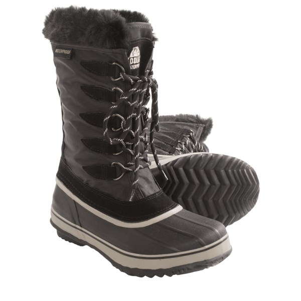 CLOSEOUTS . Kodiak Kaylee pac boots are built for frigid winter walks and slushy stomps. The 8mm removable liner is topped with a faux-fur collar, and the waterproof rubber foot ensures feet stay dry in sloppy conditions. Available Colors: BLACK. Sizes: 6, 7, 8, 9, 10, 11, 12.
