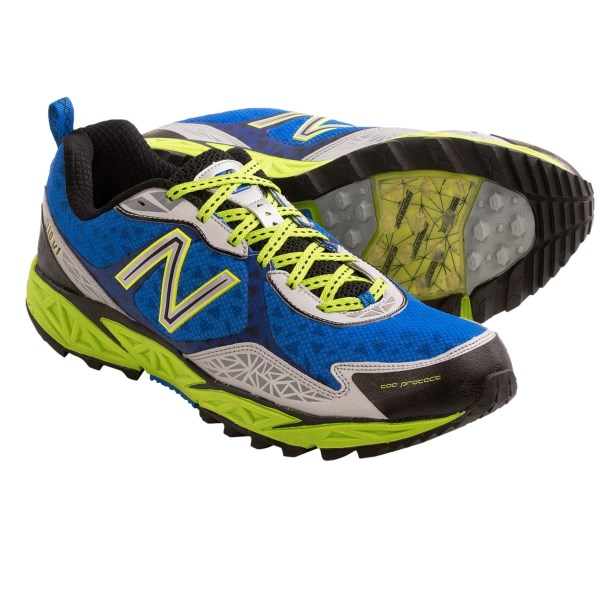 CLOSEOUTS . A lightweight mesh upper, well-cushioned REVlite midsole and forefoot rock protection help New Balance 910 trail running shoes easily adapt to all types of terrain. Available Colors: BLUE/GREY. Sizes: 7, 7.5, 8, 8.5, 9, 9.5, 10, 10.5, 11, 11.5, 12, 12.5, 13, 14.