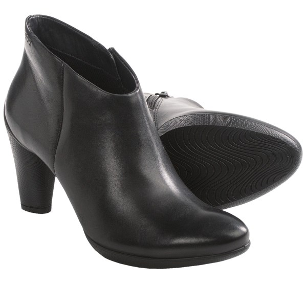 CLOSEOUTS . Surprisingly comfortable for their statuesque comportment, ECCOand#39;s Scupltured 75 Shoetie (rhymes with bootie) ankle boots are chic enough for lunch in Paris and comfortable enough to walk anywhere. The 3andquot; heel looks taller than it actually is, thanks to the beautifully textured heel wrap with dramatic upsweep. Available Colors: BLACK DRESS. Sizes: 35, 36, 37, 38, 39, 40, 41.