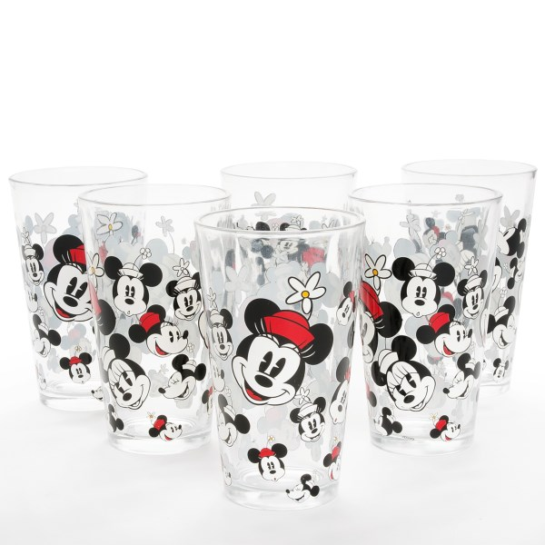 Disney Allover Mickey And Minnie Glasses - Set Of 6