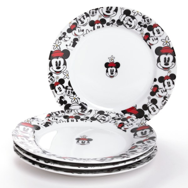 Overstock . Guess which famous mouse is coming to dinner! If youand#39;re dining atop Disneyand#39;s Allover Mickey or Minnie salad plates, the answer is clear. Available Colors: MICKEY, MINNIE.