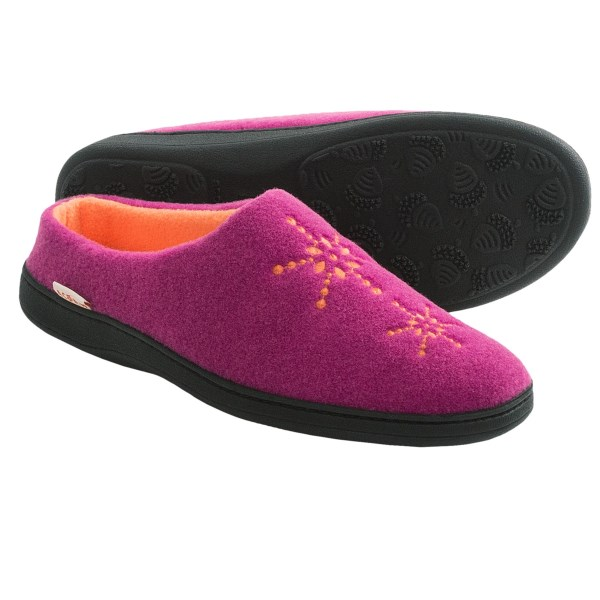 CLOSEOUTS . Treat your feet to the relaxing experience of memory foam when you slip on a pair of Acornand#39;s Plush Embroidered mule slippers. The fleece upper material is soft and strong, and the cute embroidered design adds a little seasonal charm. Available Colors: FUSCHIA, BLUEBERRY. Sizes: S, M, L, XL.